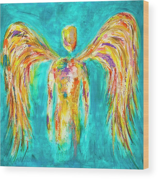Angel Wood Print featuring the painting Lines Of Color In The Sky by Ivan Guaderrama