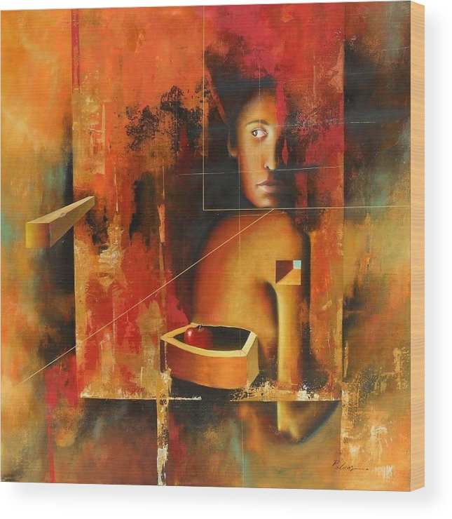 Surrealism Wood Print featuring the painting Los Secretos by Santiago Polvos