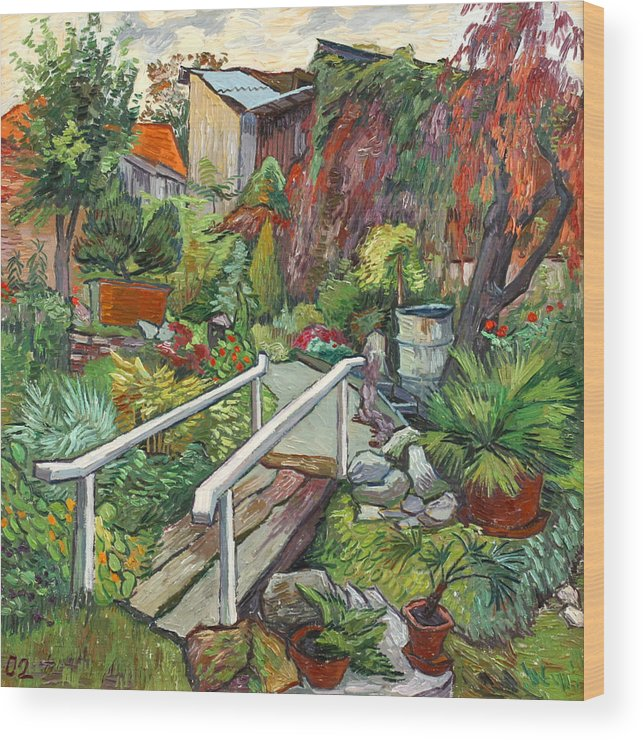Landscape Wood Print featuring the painting Lovely Flower Garden by Vitali Komarov