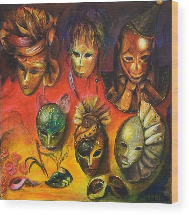 Masks Wood Print featuring the painting Making Faces IIi by Nik Helbig