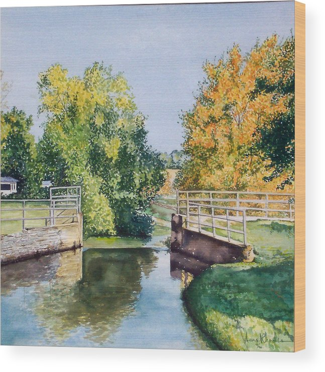 Landscape Wood Print featuring the painting Metamora Canal by Anne Rhodes