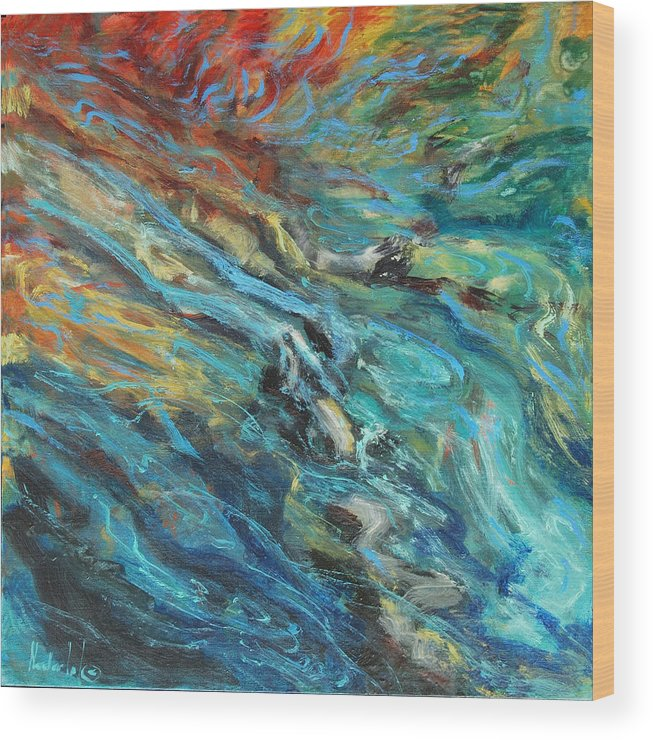 Water Wood Print featuring the painting Mountain Stream by Rick Nederlof