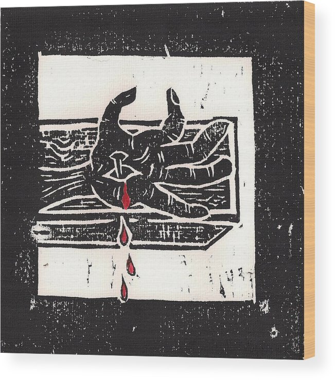 Jesus Wood Print featuring the mixed media Nailed To Cross by Lars Lindgren