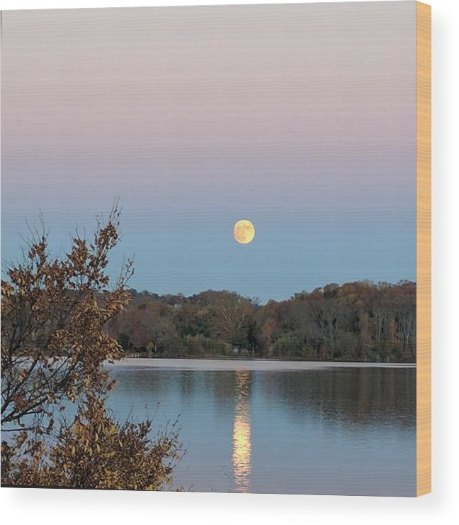 Moon Wood Print featuring the photograph Occoquan Moon by Lin Grosvenor