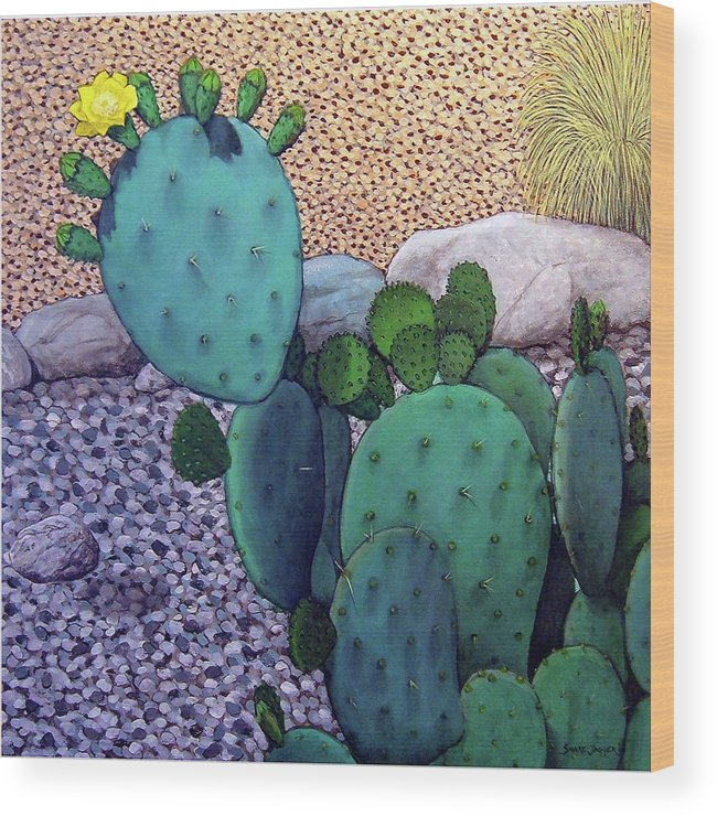 Landscape Wood Print featuring the painting Opuntia by Snake Jagger