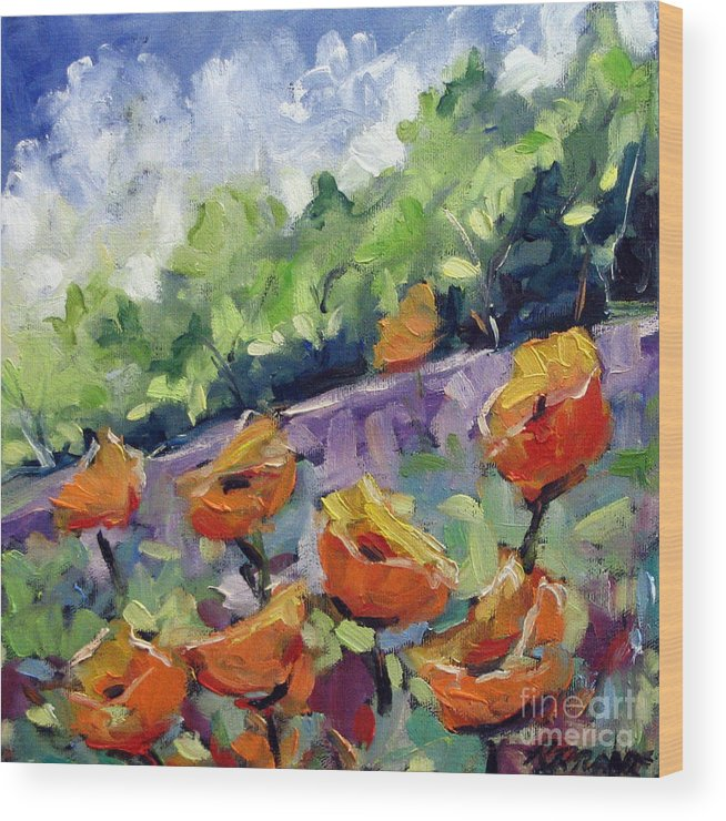 Art Wood Print featuring the painting Orange Poppies by Richard T Pranke