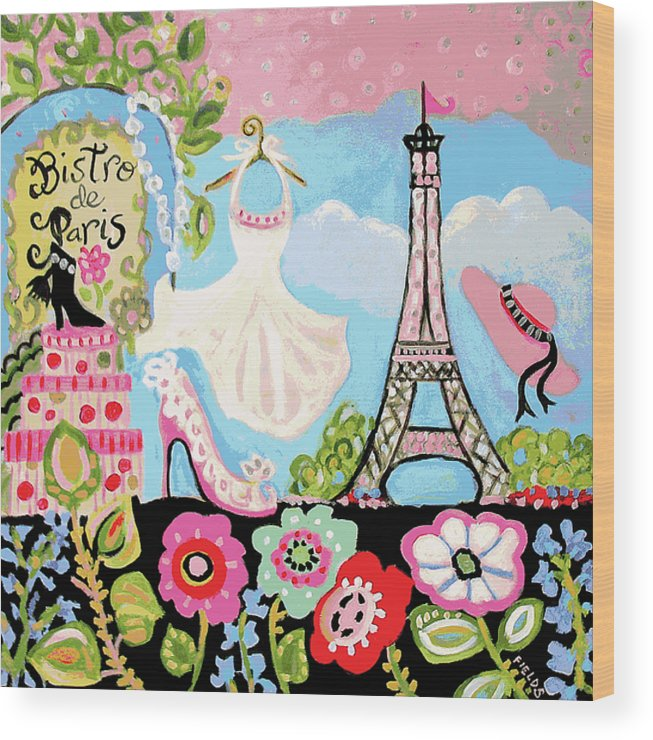 Paris Wood Print featuring the digital art Paris Bistro Dress by Karen Fields