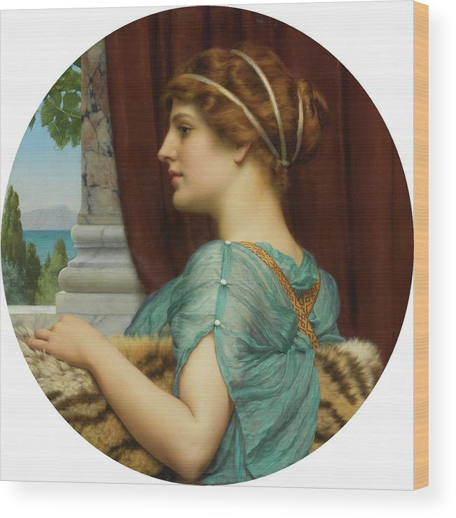 John William Godward Wood Print featuring the painting Pompeian Lady by John William