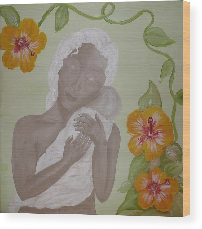 Mother Wood Print featuring the painting Precious Time by Jennifer Hernandez