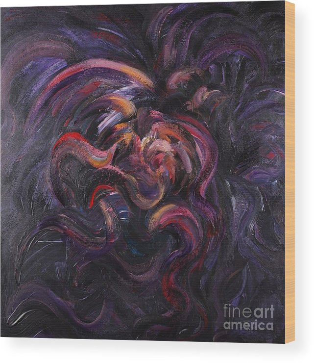 Purple Wood Print featuring the painting Purple Passion by Nadine Rippelmeyer