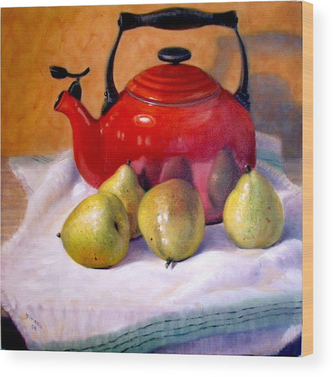 Realism Wood Print featuring the painting Red Teapot And Pears by Donelli DiMaria