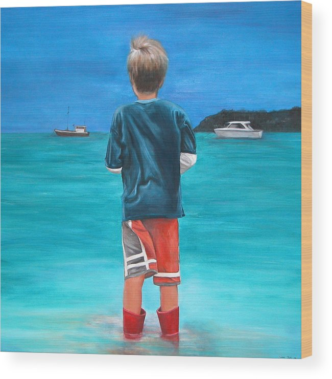 Beach Wood Print featuring the painting Red Wellies by Fiona Jack