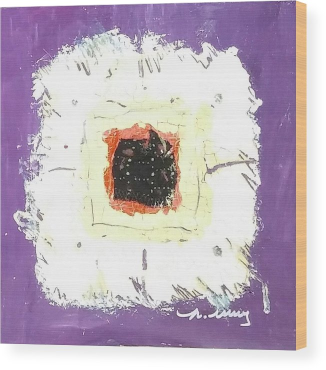 Purple Wood Print featuring the drawing Ricky by Martha Wherry