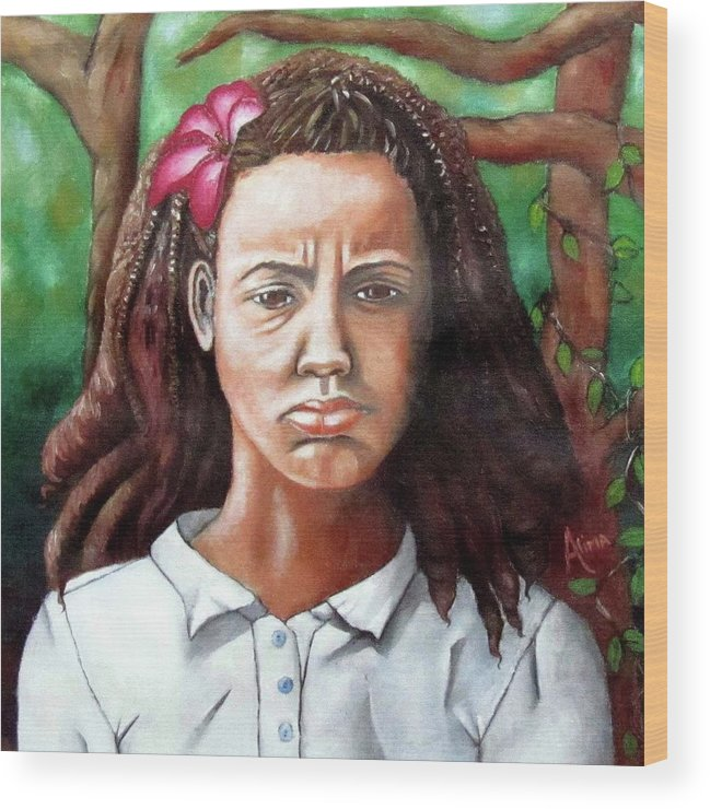 Portrait Wood Print featuring the painting Salty Girl by Alima Newton