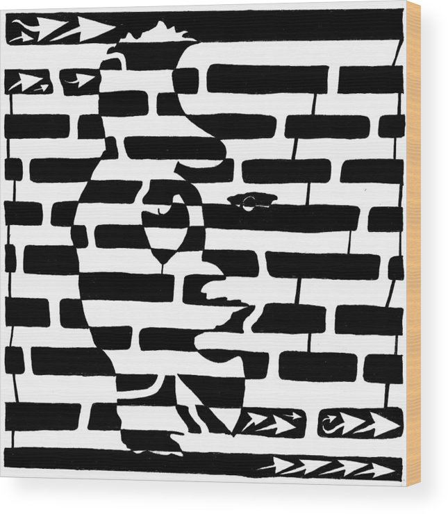 Saxophone Wood Print featuring the drawing Saxophone Player Or Woman Maze by Yonatan Frimer Maze Artist