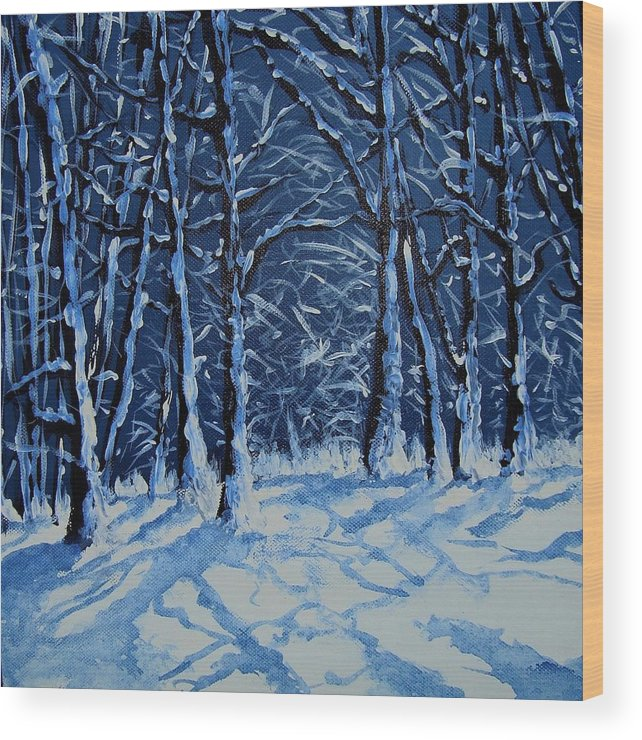 Landscape Wood Print featuring the painting Somich Snow by Veronique Radelet