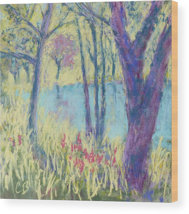 Trees Wood Print featuring the painting Spring Greeting by Carol Bower
