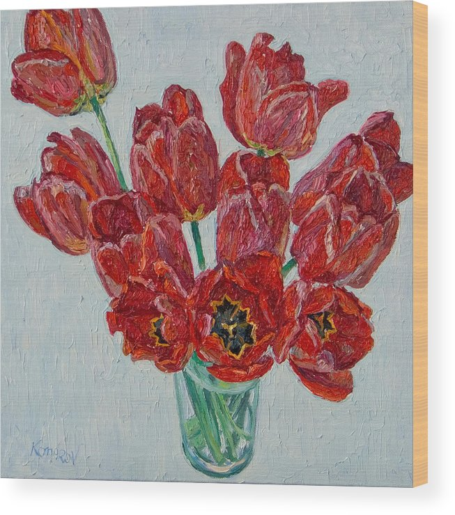 Flower Wood Print featuring the painting Still Life With Open Red Tulips by Vitali Komarov