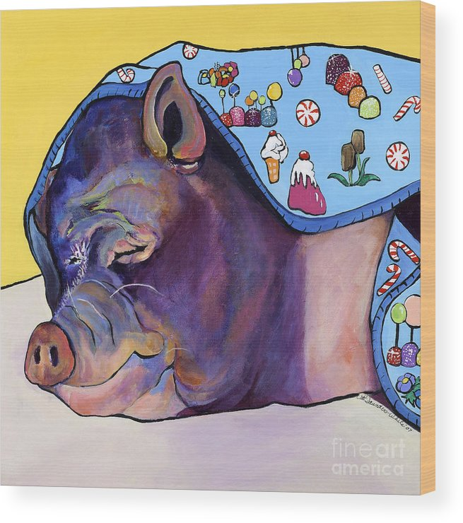 Farm Animal Wood Print featuring the painting Sweet Dreams by Pat Saunders-White