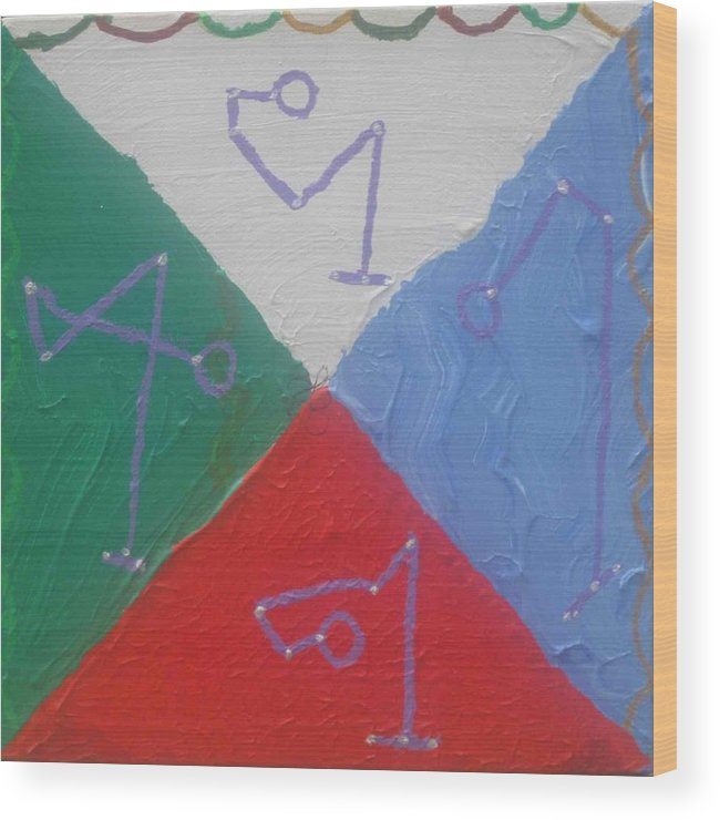 Symbols Wood Print featuring the painting Symbols And Colors Of Archangels One by AJ Brown
