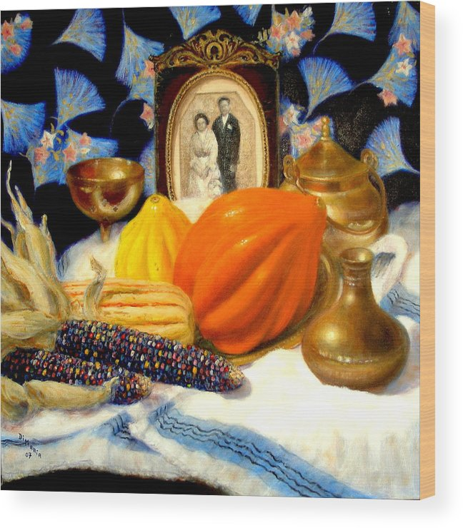 Realism Wood Print featuring the painting Thanksgiving Of The Past by Donelli DiMaria