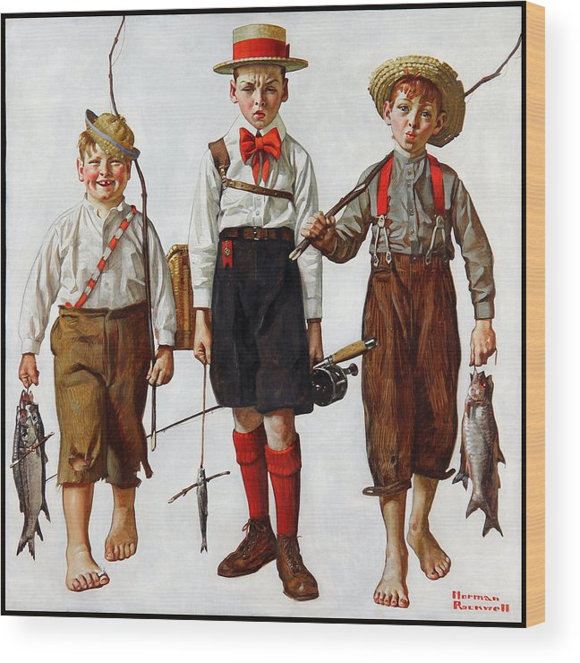 The Catch Wood Print featuring the painting The Catch by Norman Rockwell