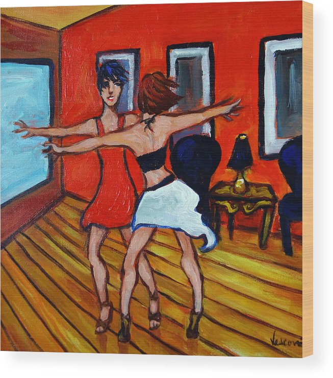 Dancers Wood Print featuring the painting The Dancers by Valerie Vescovi