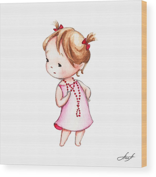 Girl Wood Print featuring the painting The Drawing Of Little Girl In Red Beads by Anna Abramska