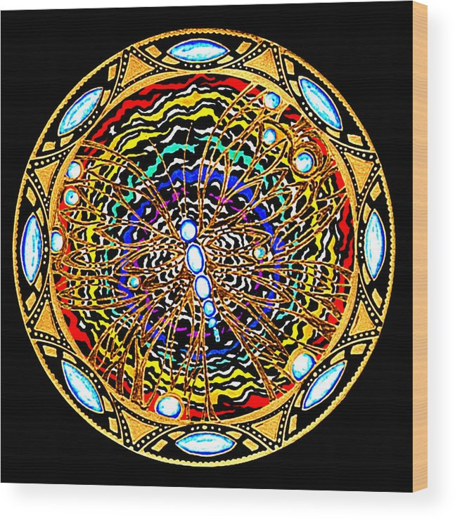 Mandala Wood Print featuring the painting The Gift by Pam Ellis