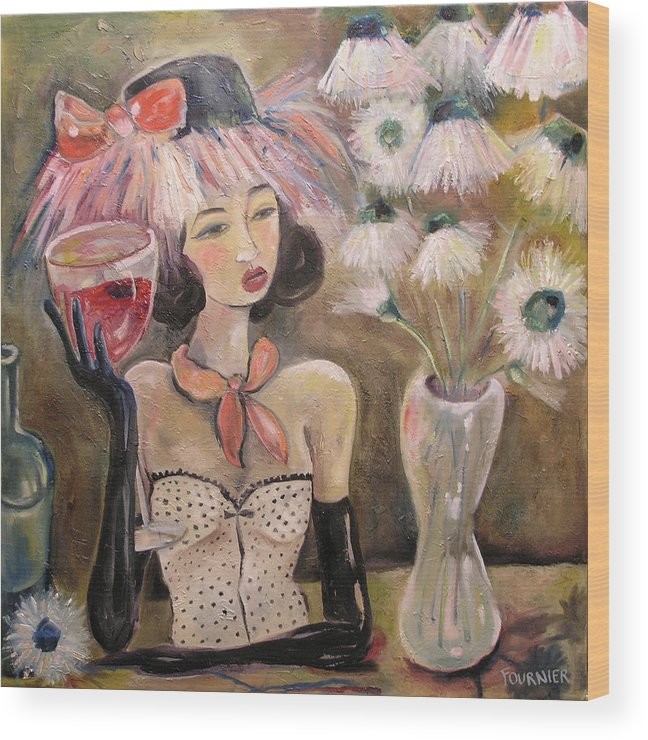 Wine Wood Print featuring the painting The Lady In The Flower Hat by Jenna Fournier