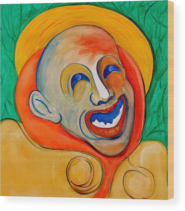 Clown Wood Print featuring the painting The Laugh Of A Clown by Dan Earle