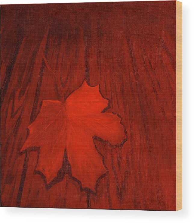 Leaf Wood Print featuring the painting The Red Leaf by Ninna