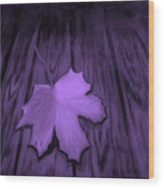 Leaf Wood Print featuring the painting The Violet Leaf by Ninna