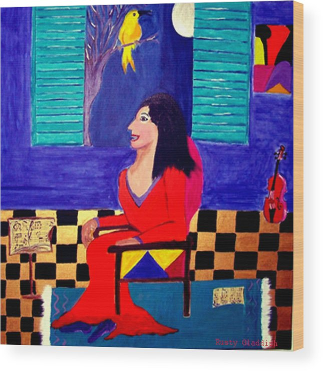 Fauvism Wood Print featuring the painting The Witch's Duet by Rusty Gladdish