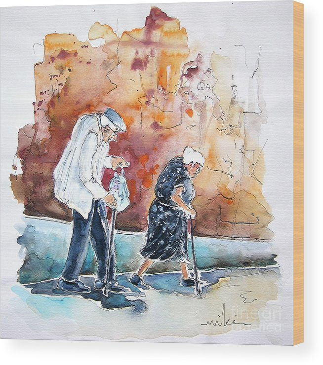 Portugal Paintings Wood Print featuring the painting Together Old In Portugal 01 by Miki De Goodaboom