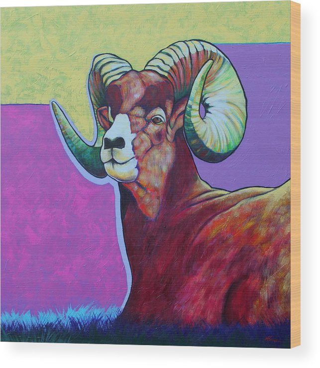 Wildlife Wood Print featuring the painting Top Heavy Big Horn by Joe Triano