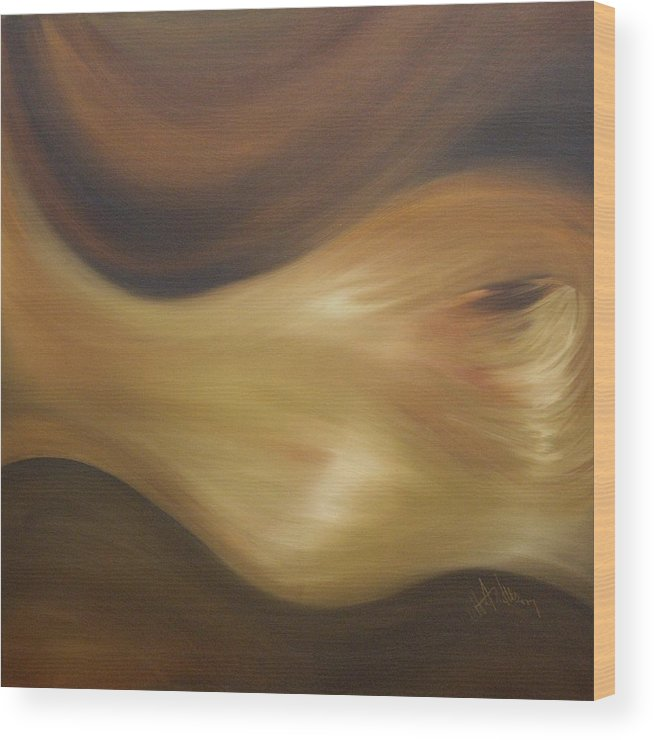 Non Objective Wood Print featuring the painting Transparent Earth 1 by Debbie Anderson