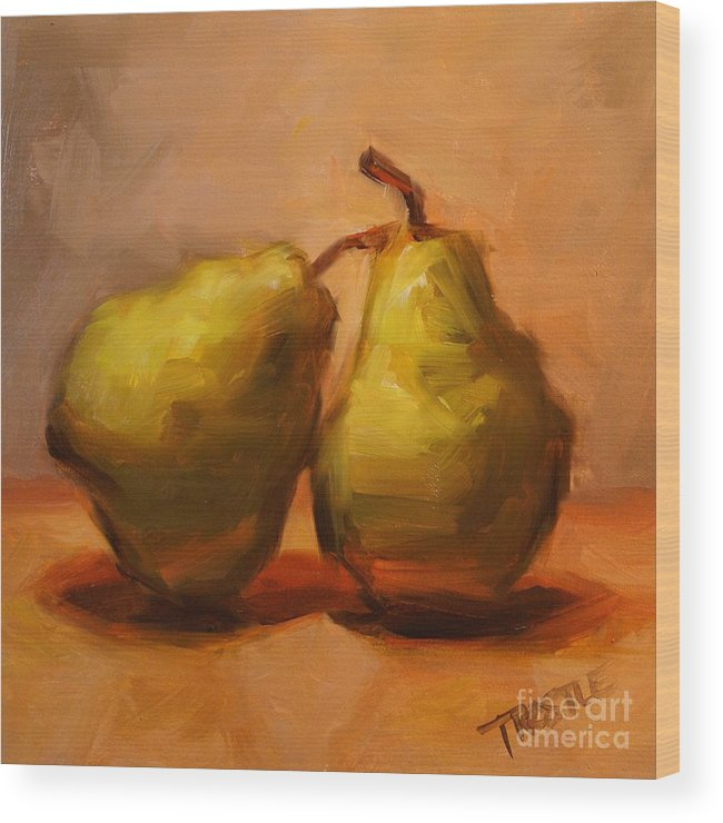 Pears Wood Print featuring the painting Two Green Pairs Print Lean On Me by Patti Trostle