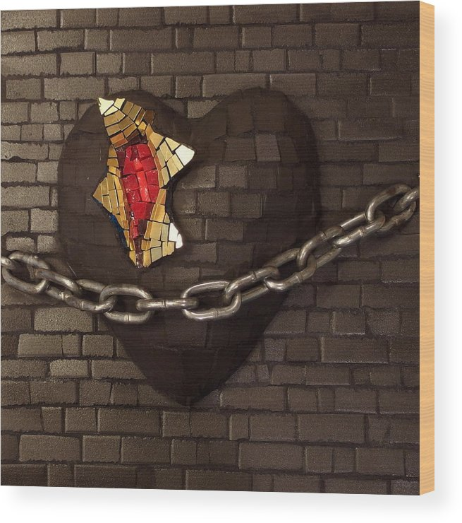 Unchain Wood Print featuring the relief Unchain My Heart by Julie Mazzoni