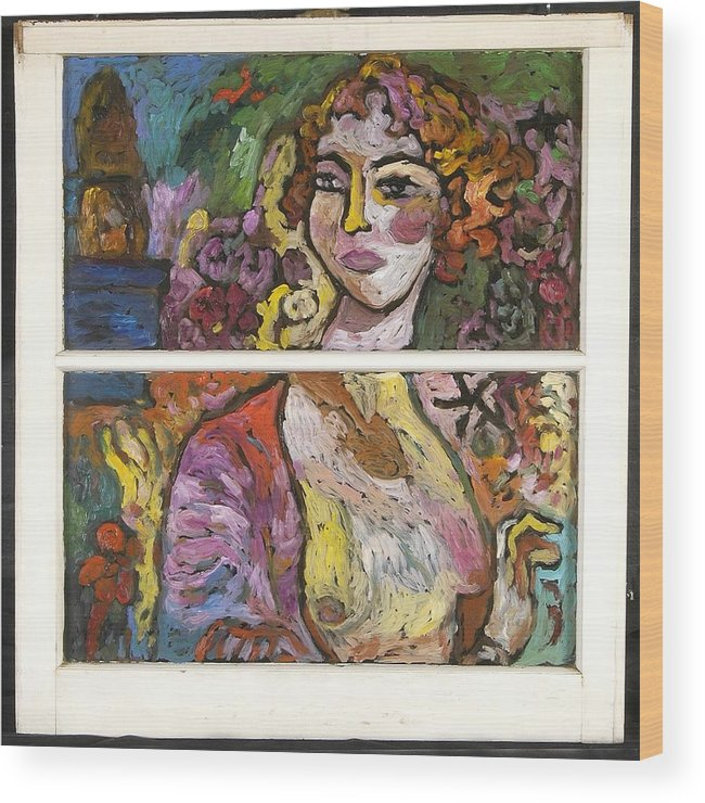 Glass Wood Print featuring the painting Valencia by Mykul Anjelo