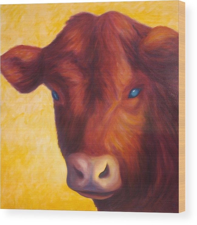 Bull Wood Print featuring the painting Vern by Shannon Grissom