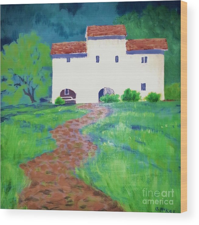 Tuscany Wood Print featuring the painting Villa In Tuscany by Suzanne McKay