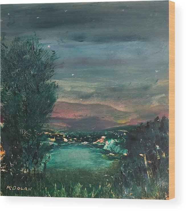 Wood Print featuring the painting Village At Twilight by Martha Dolan