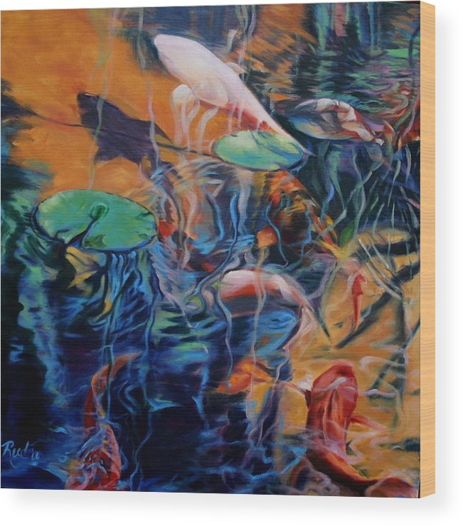 Koi. Water Wood Print featuring the painting Water Garden Series B by Patricia Reed
