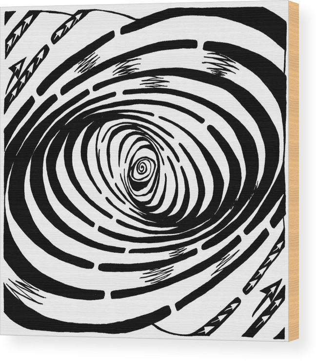 Wave Wood Print featuring the drawing Wave Swirl Maze by Yonatan Frimer Maze Artist