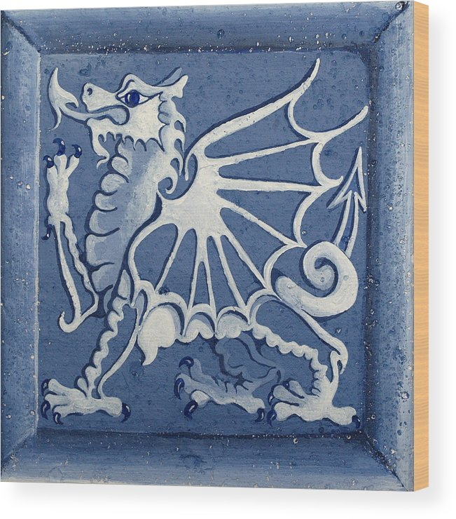 Heritage Wood Print featuring the painting Welsh Dragon Panel by Joyce Hutchinson