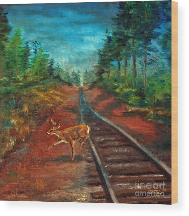 Oil Wood Print featuring the painting White Tail Deer In Southern Woods by Suzanne McKee