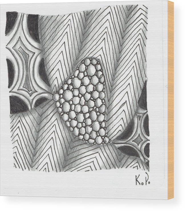 Zentangle Wood Print featuring the mixed media White Zen 19 by Kitty Perkins