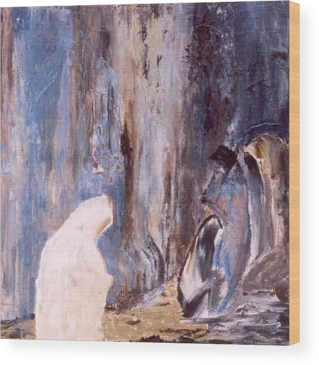 Wall Wood Print featuring the painting Women At The Wall by Bruce Combs - REACH BEYOND