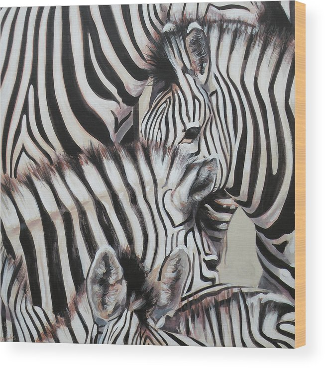 Zebra Wood Print featuring the painting Zebra Triptyche Left by Leigh Banks